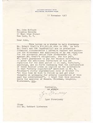 Typed letter signed, to John McClure of Columbia Records: Stravinsky, Igor