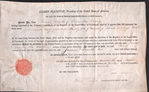 Partly printed document signed. Land grant: Madison, James