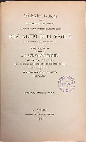 Análisis De Las Aguas De Granada y: Alejo Luis Yagüe