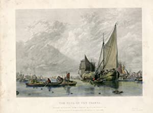 Inglaterra. «The Pool of the Thames» grabado por W. Miller sobre obra de A.W. Calcott