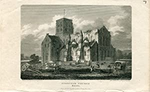 Grabado antiguo. Shoreham Church 1801 por G. Cooke