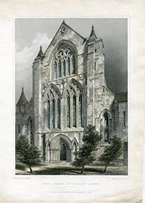 Escocia. West front of Paisley Abbey grabado por J. Godffrey, dibujó R.W. Billings