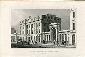 Escocia. New Post Office, Waterloo Place grabado por Alexander Mc.Clatchie 1829