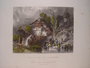 Suiza. «Mill on the Lake of Lungern».Grabó Albert Henry Payne (1812-1902) según obra de George Ba...