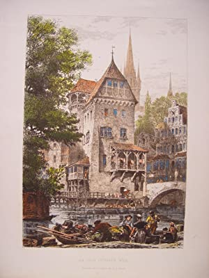 Alemania. «An Old German Mill» Grabado Axel Herman Haig (1835-1921)