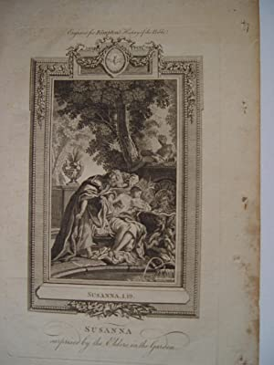 «Susanna» Surprised by the Elders in the garden. Engraved for Kimptson» s History of the Bible.