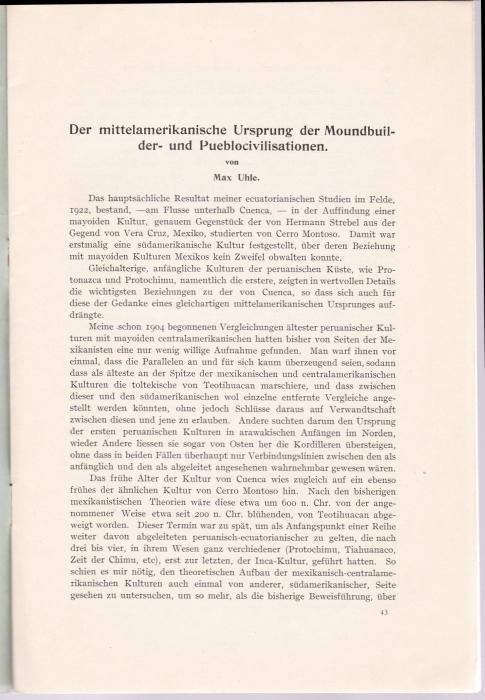 Der mittelamerikanische Ursprung der Moundbuilder- und Pueblocivilisationen.: Uhle, Max