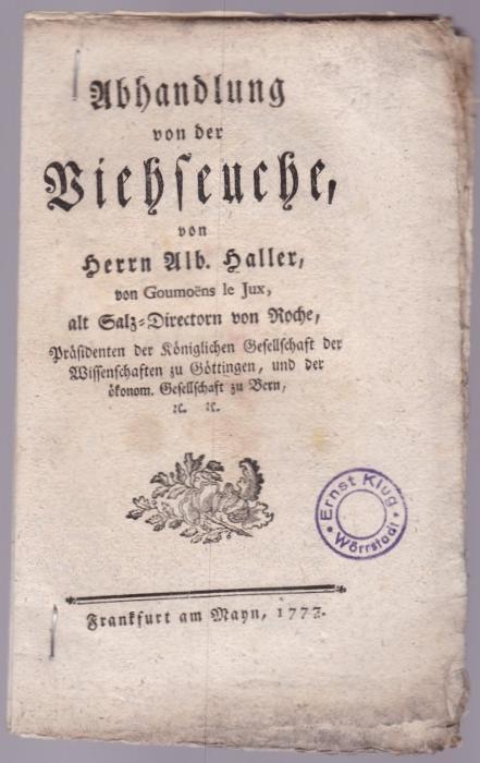 Abhandlung von der Viehseuche: Haller, Albrecht von
