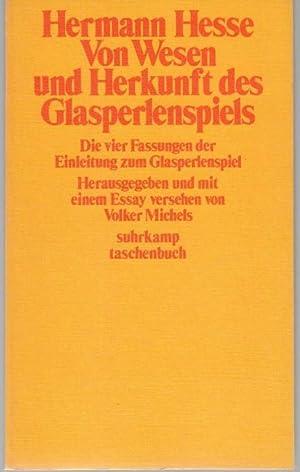 Vom Wesen und der Herkunft des Glasperlenspiels.: Hesse, Hermann