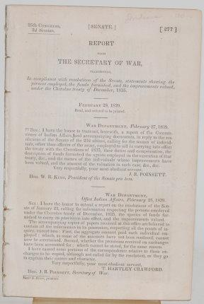 REPORT FROM THE SECREATARY OF WAR (SHORT TITLE): Poinsett, J. R.