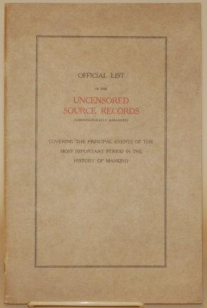 OFFICIAL LIST OF THE UNCENSORED SOURCE RECORDS