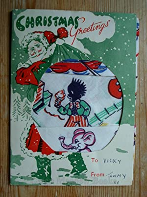 CHRISTMAS GREETING CARD OF CHILDREN'S HANDKERCHIEFS WITH GOLLY AND ELEPHANTS