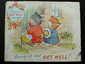 HURRY UP AND GET WELL! JIG-SAW GREETING CARD - PUSSY CATS!