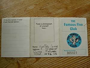 FAMOUS FIVE ORIGINAL CLUB MEMBERSHIP CARD