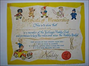 NODDY - KELLOGG¿S NODDY CLUB CERTIFICATE OF MEMBERSHIP
