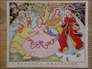 SEASONS GREETINGS! Deco flavoured card four charming ladies, and robins under trees.