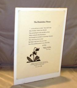 Broadside Poem: The Elizabethan Phrase. Whalen, Philip. A Fine copy, shrink wrapped on foam board. This is one of only100 copies signed by Whalen.