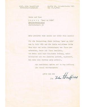 Typed letter.: HEARTFIELD, JOHN: