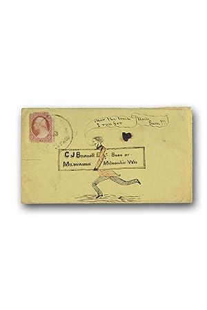 Autograph letter signed, with an original cartoon: Mail Art]. John