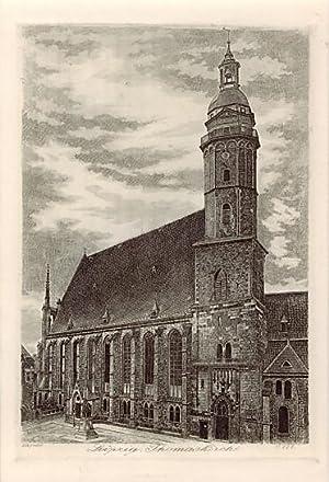 Leipzig. Thomaskirche. Radierung von Dietrich, um 1920.