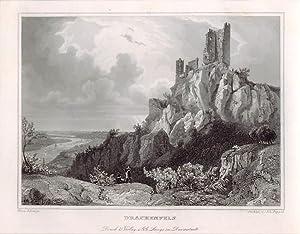 Stahlstich der Burg Drachenfels.
