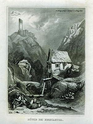 Mühle bei Berncastel. Stahlstich aus 'Das kleine Universum'.