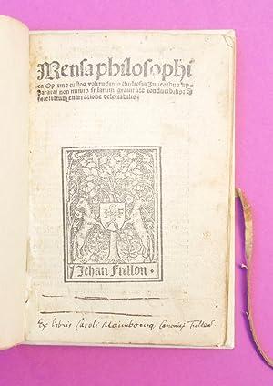 Mensa philosophica Optime custos valitudinis studiosis Juvenibus: Mensa philosophica