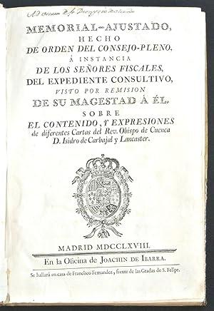 Memorial-ajustado, hecho de orden del Consejo- Pleno,: Rodríguez de Campomanes,