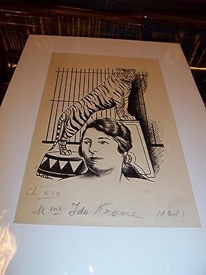 "DESSIN ORIGINAL EN NOIR : ""Mme IDA: ADLEN Michel (Peintre"