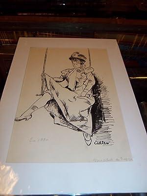 "DESSIN ORIGINAL EN NOIR : ""LE CIRQUE: ADLEN Michel (Peintre"