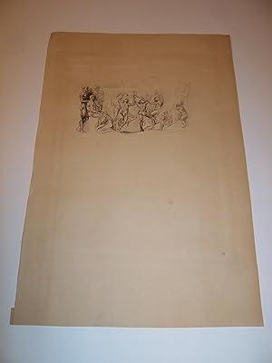 """UNE EAU-FORTE ORIGINALE (Original Drypoint Etching) : """"LA RONDE"""" PAR A. RODIN EN 1905 ..."""