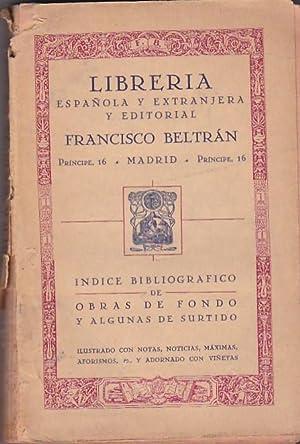 Índice bibliográfico de Obras de Fondo y algunas de surtido