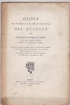 Glosa del discurso de las Armas y Las Letras del Quijote: RODRIGUEZ MARIN, Francisco