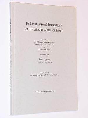 Die Entstehungs- und Textgeschichte von J. A. Leisewitz' 'Julius von Tarent': Peter ...