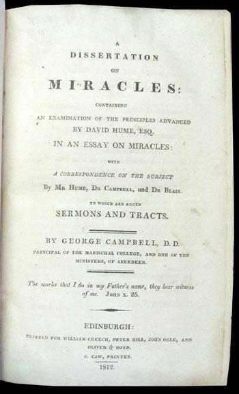 A dissertation on miracles edinburgh 1762
