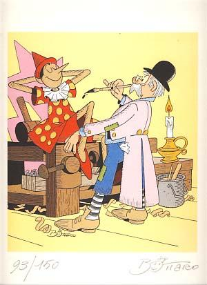 Pinocchio Signed and Numbered Limited Edition Print. Art by Luciano Bottaro