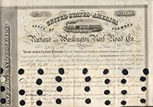 Rutland and Washington Railroad Co. $1000 Bond