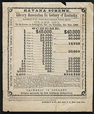 Broadside for Havana Scheme Drawing, Library Association Co. Lottery of Kentucky, to Be Drawn in ...