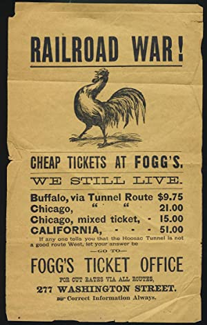 Railroad War! Advertisement for Fogg's Ticket Office in Boston