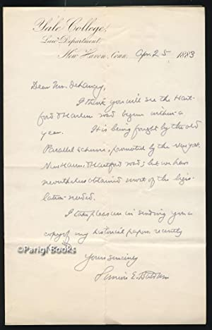 Autograph Letter Signed Regarding the Hartford & Harlem Railroad