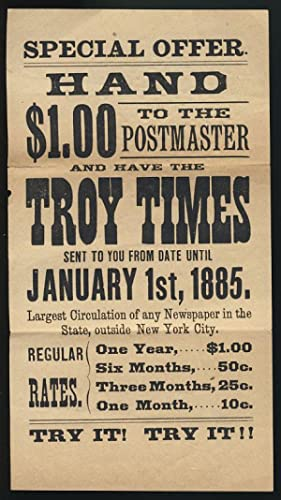 Advertisement Flyer for The Troy Times