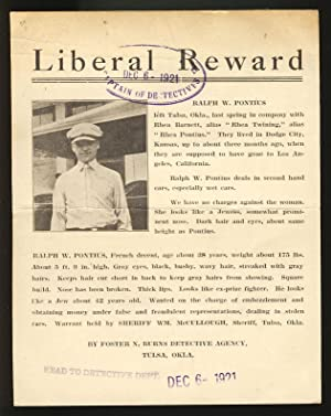 Liberal Reward Wanted Flyer for a Ralph W. Pontius on the Charge of Embezzlement and Dealing in S...