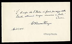 Autograph Quotation from Cavour Signed