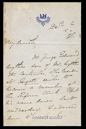 Autograph Letter Signed Regarding London's Reform Club. [with] Engraved Portrait of Joseph Paxton