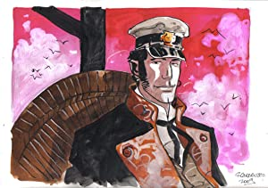 Corto Maltese Portrait #2 Original Watercolor by Giancarlo Caracuzzo