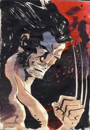 Wolverine Original Watercolor by Giancarlo Caracuzzo