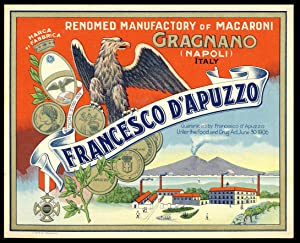 Vintage Francesco D'Apuzzo Pasta Label