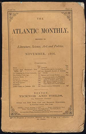 Passages From Hawthorne's Note-Books Part XI in The Atlantic Monthly November 1866