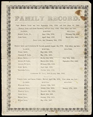 Family Record of [Captain] Simeon Long Printed Broadside
