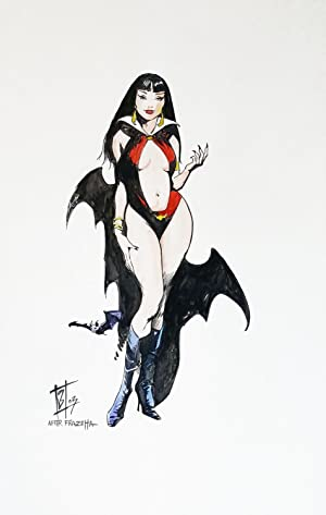 Vampirella Original Watercolor Homage to Frazetta
